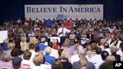 오하이오 주에서 선거 캠페인 운동을 벌이는 미트 롬니 공화당 후보