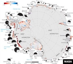 Rates of basal melt of Antarctic ice shelves (melting of the shelves from underneath) overlaid on a 2009 mosaic of Antarctica created from data from NASA's Moderate Resolution Imaging Spectroradiometer (MODIS) instrument aboard NASA's Terra and Aqua space