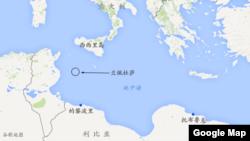 地处地中海的意大利西西里岛和兰佩杜萨以及利比亚的的黎波里和托布鲁克
