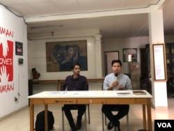 (ki-ka) Pengacara Publik LBH Jakarta Shaleh Al Gifary dan Staf Pembela HAM KontraS Andi Muhammad Rezaldy dalam konferensi pers di kantor KontraS, Jakarta, Jumat, 26 Juli 2019. (Foto: VOA/Ghita)