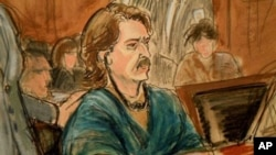 Artist's drawing of Viktor Bout in court