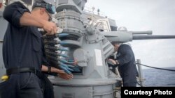 美國海軍2017年4月5日在南中國海準備實彈操練(美國海軍照片)