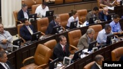 FILE - Opposition lawmakers are seen in Nicaragua's parliament building in Managua.