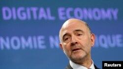 欧盟经济专员莫斯科维奇2018年3月在布鲁塞尔发表谈话(路透社)