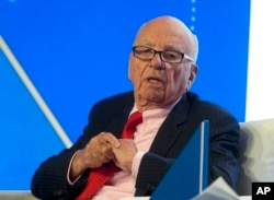 Rupert Murdoch, executive chairman of News Corporation, speaks during a panel discussion at the B20 meeting of company CEOs in Sydney, Australia, July 17, 2014.