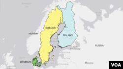 Carte représentant la Finlande en bleu.