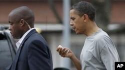 President Barack Obama after getting injured in a basketball game in Washington, 26 Nov 2010