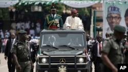 Rais mpya wa Nigeria, Mohammadu Buhari katika sherehe za kuapishwa kwake mjini Abuja, Mei 29,2015