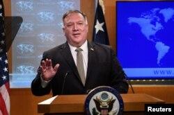 美国国务卿蓬佩奥2020年9月2日在国务院记者会上。
