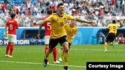 Cầu thủ Thomas Meunier mở tỉ số cho Bỉ với bàn thắng ở phút thứ tư vào lưới của Anh tại Sân vận động St Petersburg, St Petersburg, Nga, ngày 14 tháng 7, 2018.