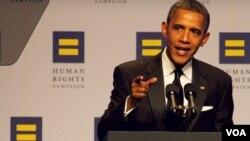 El presidente Obama fue el invitado principal en la cena anual del grupo de defensa de los derechos de los homosexuales, Human Rights Campaign.