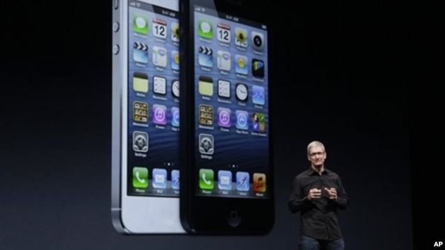 Apple CEO Tim Cook at the unveiling of iPhone 5, San Francisco, Sept. 12, 2012.
