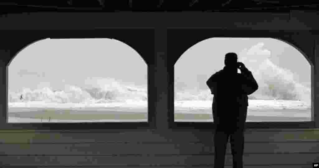 Nước biển dâng cao vì bão Sandy tạiCape May, New Jersey, ngày 29/10/2012.