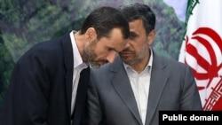 عکس آرشیوی از حمید بقایی (چپ) معاون محمود احمدی نژاد (راست) رئیس جمهوری پشین ایران