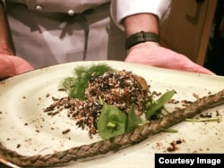 Sean Sherman prepared this modern version of a traditional Lakota dish, Wasna, made with duck, popped wild rice and amaranth, foraged fennel and miners lettuce at the 20th annual World of Flavors at the Culinary Institute of America, St. Helena, Ca.