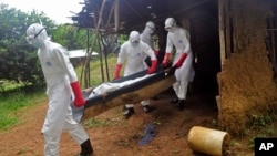 Ebola health care workers carry the body of a middle aged man they suspected of dying from the Ebola virus on the outskirts of Monrovia, Liberia, Nov. 8, 2014.