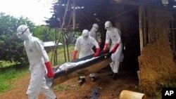 انتقال پیکر یکی از قربانیان ویروس ابولا در حومه شهر مونرویا در لیبریا – ۱۷ آبان ۱۳۹۳