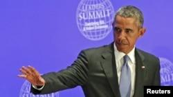 Tổng thống Barack Obama tại Hội nghị thượng đỉnh của các nhà lãnh đạo về chống Nhà nước Hồi giáo và Chủ nghĩa cực đoan bạo lực tại Đại hội đồng LHQ ở New York, ngày 29/9/2015.