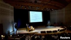图为瑞典斯德哥尔摩大学的演讲大厅(2016年12月8日)
