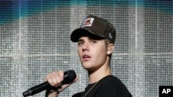 Justin Bieber performs during the Power 96.1 Jingle Ball at Philips Arena on Dec. 17, 2015, in Atlanta.