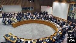 Dewan Keamanan PBB melakukan pemungutan suara mengenai resolusi zona larangan terbang di atas Libya.
