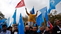 Turkiyada yashayotgan uyg'urlar namoyishi