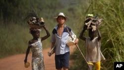 آئیوری کوسٹ میں کوکو پیدا کرنے والے گاؤں کے بچے کھیتوں میں مشقت کے بعد گھر لوٹ رہے ہیں۔ فائل فوٹو