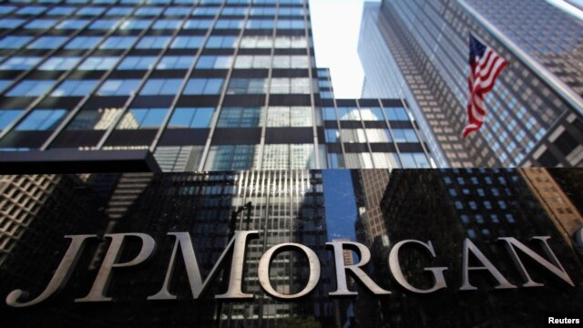 A JP Morgan Chase & Co sign is seen outside of the bank's headquarters in New York.