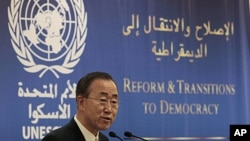 UN Secretary General Ban Ki-moon, speaks during the opening session of a conference on democracy in the Arab world, in Beirut, Lebanon, January 15, 2012.