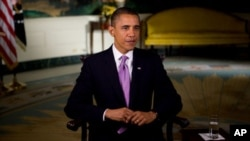 US President Barack Obama records the weekly address, 01 Oct 2010 (file photo)