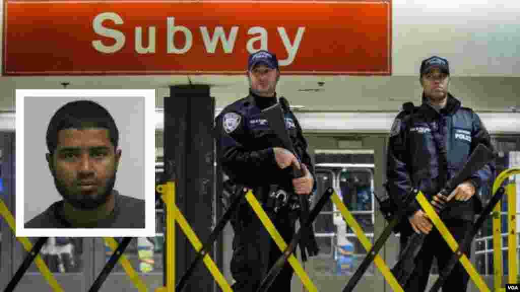 """2017年早晨7点20左右,在站名为""""港务局汽车总站""""的地铁站里发生爆炸。然后警察在哪里严密戒备。警察左侧的头像照片是凶嫌—— 27岁的乌拉。根据起诉书,乌拉向调查人员承认以""""伊斯兰国""""的名义实施了袭击,并交代了自己激进化以及策划这起未遂袭击行动的过程。乌拉对审问人员说:""""我这么做是为了'伊斯兰国'。""""乌拉2011年移民到美国。他说,他作案的""""部分原因是美国政府在中东等地区的政策""""。"""