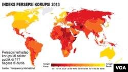 12月3日透明國際發佈2013年各國腐敗指數報告(顏色愈深腐敗愈嚴重)
