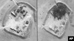 Foto sebelum (kiri) dan sesudah serangan udara oleh Pentagon atas sebuah kilang minyak di Suriah.
