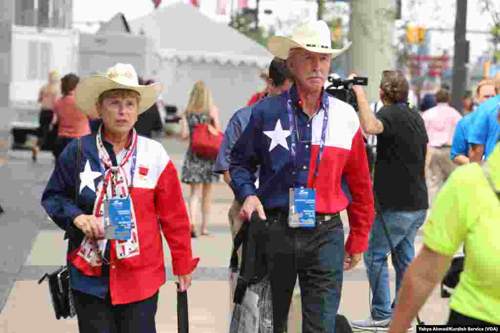 Delegates -- these from the southern U.S. state of Texas -- arrived Monday morning for the start of the Republican National Convention at Quicken Loans Arena, in Cleveland, July 18, 2016.