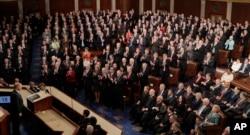 도널드 트럼프 대통령이 지난해 2월 28일 미국 의회에서 첫 상하원 합동 연설을 했다.