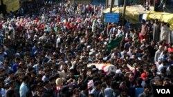 بھارتی کشمیر میں سیکیورٹی فورسز کے ہاتھوں ہلاکت کے خلاف احتجاجی مظاہرہ۔