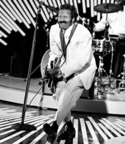 "Chuck Berry performs his ""duck walk"" while playing a guitar during a concert in 1980"