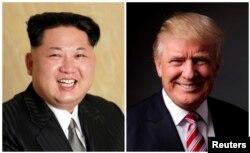 ພາບລວມ ສະແດງໃຫ້ເຫັນໃບປິວ ຂອງ ອົງການສູນກາງຂ່າວ ຂອງເກົາຫຼີເໜືອ (KCNA) ຂອງຮູບຜູ້ນຳ ກິມ ຈົງ ອຶນ (Kim Jong Un) ທີ່ໄດ້ຖືກເປີດເຜີຍ ເມື່ອວັນທີ 10 ພຶດສະພາ 2016, ແລະ ພາບຂອງທ່ານ ດໍໂນລ ທຣຳ ຖ່າຍໃນນະຄອນ ນິວຢອກ ຂອງສະຫະລັດ, ວັນທີ 17 ພຶດສະພາ 2016.
