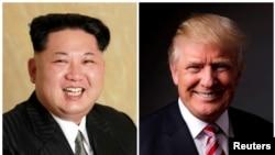 Rais wa Korea Kaskazini Kim Jong UN na Donald Trump wa Marekani.