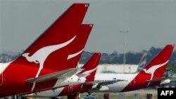 Máy bay của Hãng Hàng Không Qantas đậu tại sân bay Sydney