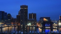 Baltimore's downtown showplace, the Inner Harbor, as seen from Federal Hill