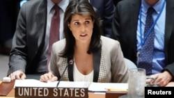 La embajadora de Estados Unidos ante las Naciones Unidas, Nikki Haley, habla durante una reunión del Consejo de Seguridad de la ONU.