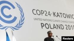 Presiden Nigeria Muhammadu Buhari berpidato pada COP24, Konferensi Perubahan Iklim PBB 2018 di Katowice, Polandia 3 Desember 2018. (Foto: dok)