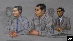 Азамат Тажаяков, Диас Кадырбаев и Робель Филлипос (зарисовка из зала федерального суда). Бостон. 13 мая 2014 г.