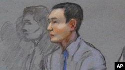 This courtroom sketch shows defendant Azamat Tazhayakov, a college friend of Boston Marathon bombing suspect Dzhokhar Tsarnaev, during a hearing in federal court, May 13, 2014, in Boston.