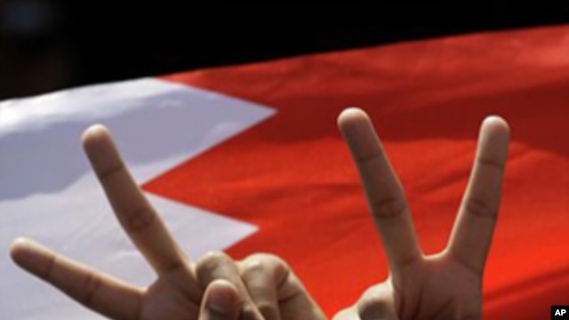 A Bahraini anti-government protester flashes a victory sign in front a Bahraini flag at the Pearl roundabout in Manama, Bahrain, Sunday, Feb. 20, 2011.