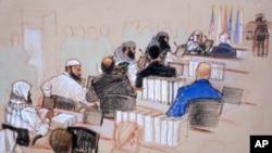 Ảnh phác thảo phòng xử án 5 nghi can khủng bố 11/9 tại Vịnh Guantanamo, ngày 28/1/2013.