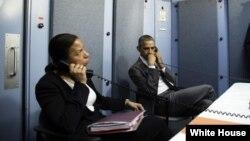 美國總統國家安全事務助理賴斯(左)和總統奧巴馬。