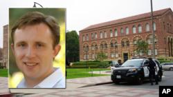 被枪杀的加大洛杉矶分校工程教授克卢格(William S. Klug)照片,背景是事发地点工程教学楼