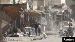 Salah satu daerah di Marat al-Numan, Suriah utara yang menjadi sasaran serangan pasukan pemerintah (23/10).